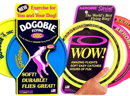 Aerobie Dog Toy Gift Set Sprint Ring & Dogobie X 2 Throwing Discs For Dogs Or Pets