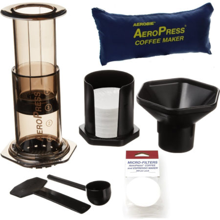 Aerobie Aeropress Coffee Maker With 350 Extra Filters And Tote Travel Bag