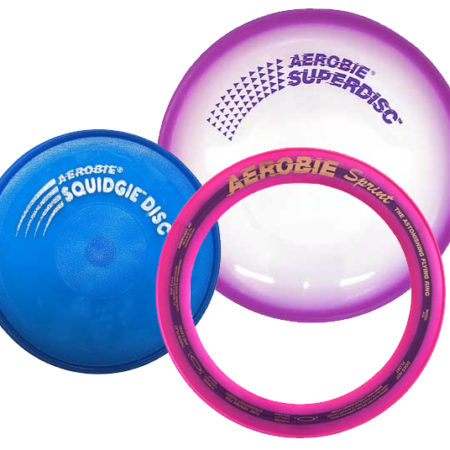 Aerobie Variety Gift Set Squidgie Disc, Sprint Ring & Superdisc Flying Discs